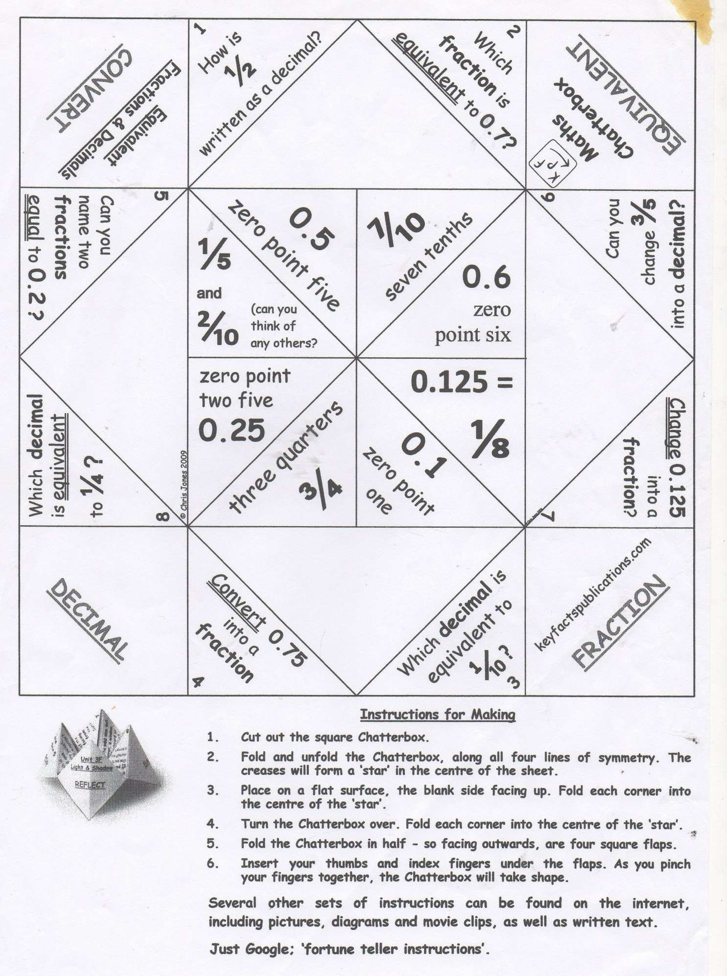 11 Fortune Teller Math Worksheet