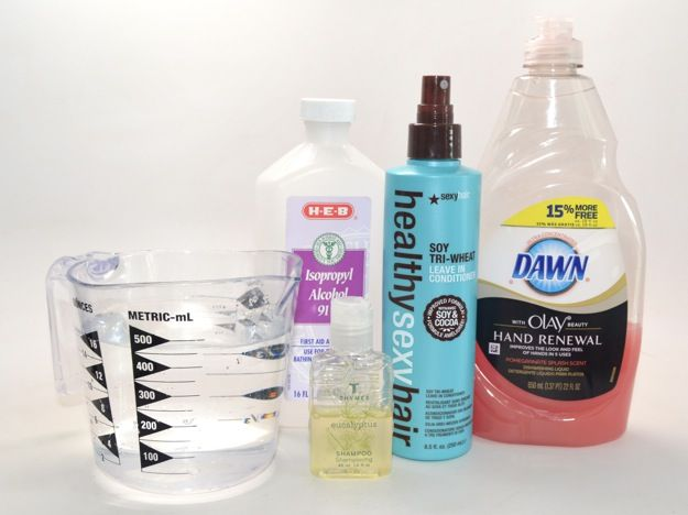 DIY brush cleanser: 2 cups distilled water 1/2 cup Isopropyl ...