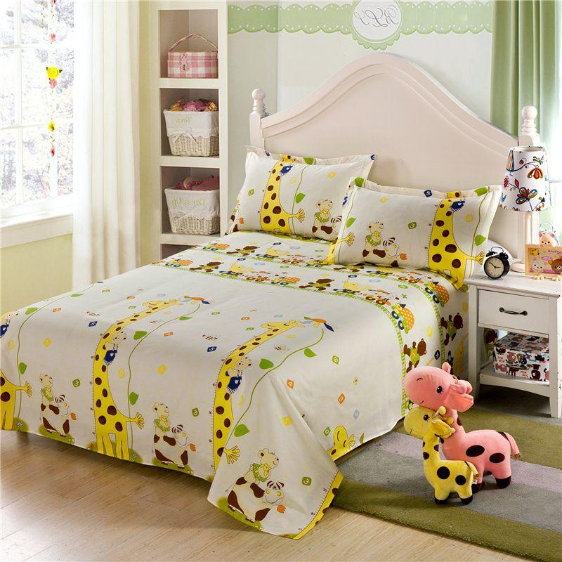 yellow giraffe cartoon kids children boys and girls 100 cotton bed sheets pillowcase bedding sets - Kids Full Sheets