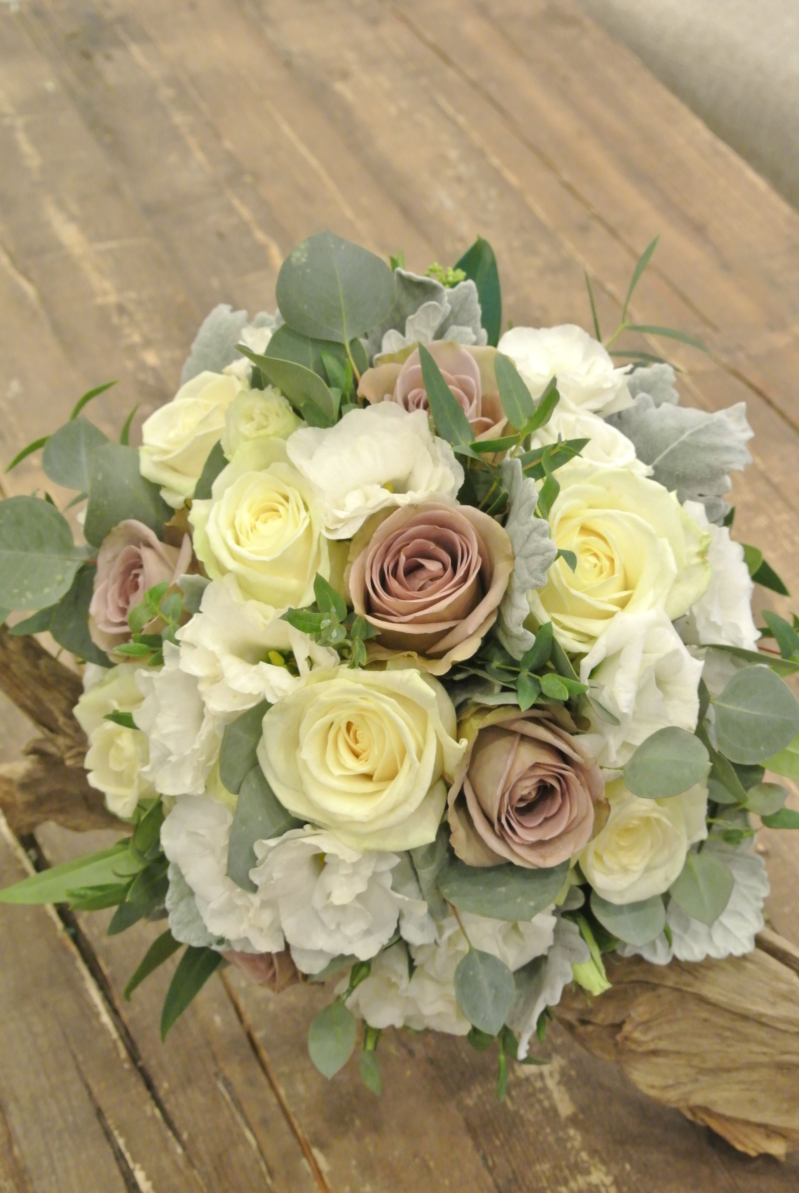 Bridal Bouquet With Roses Lisianthus And Eucalyptus Designed By