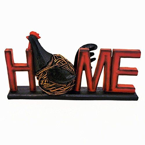 Primitive French Country Farmhouse Chicken Rooster HOME Word Sign Block