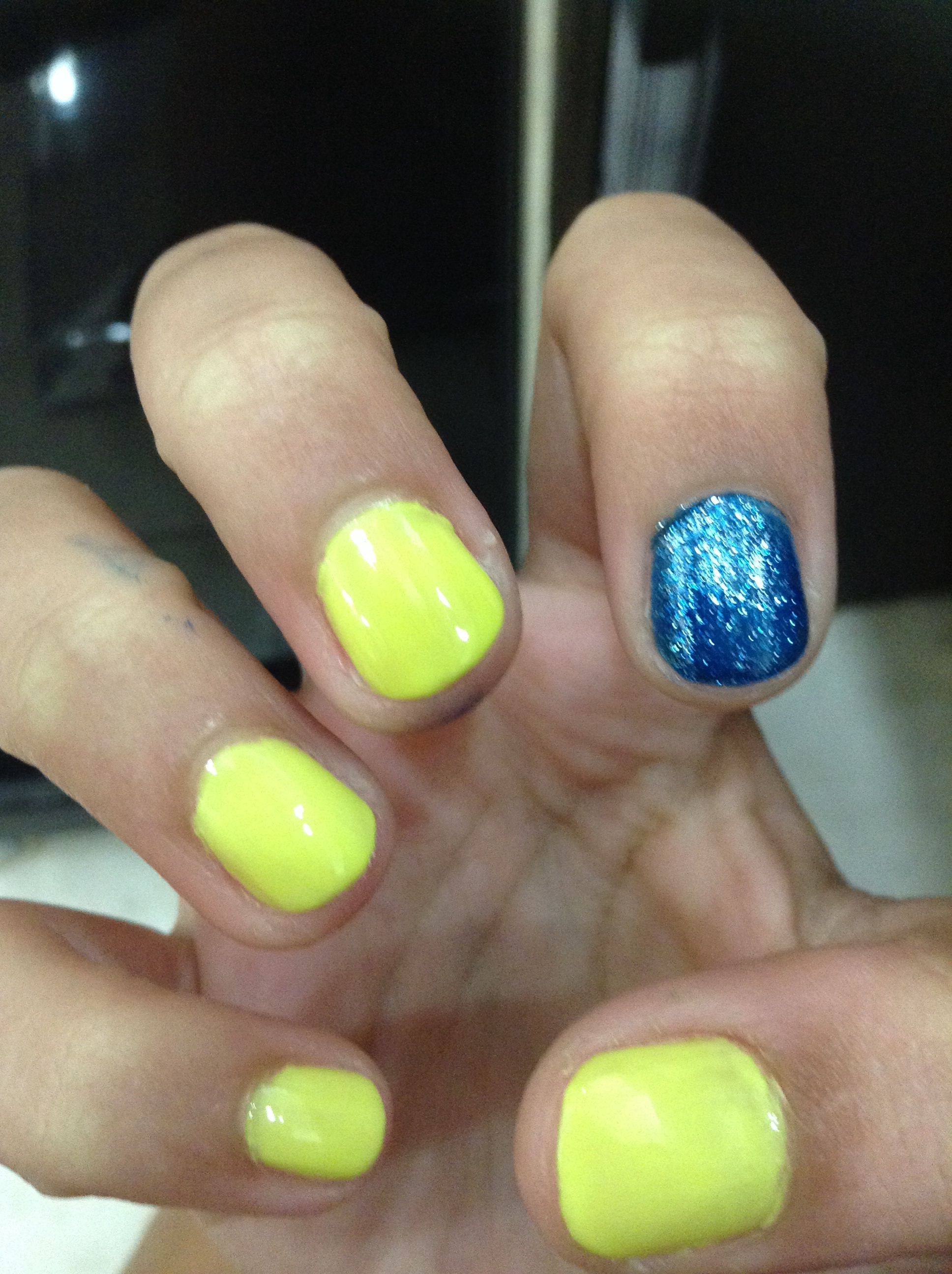 Neon yellow with glittery blue