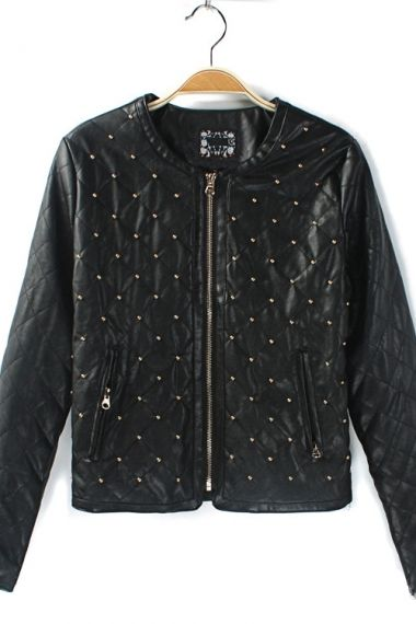 2ff4c06d2b LOVE this Black Leather and Gold Rivet Decoration Leather Jacket ...