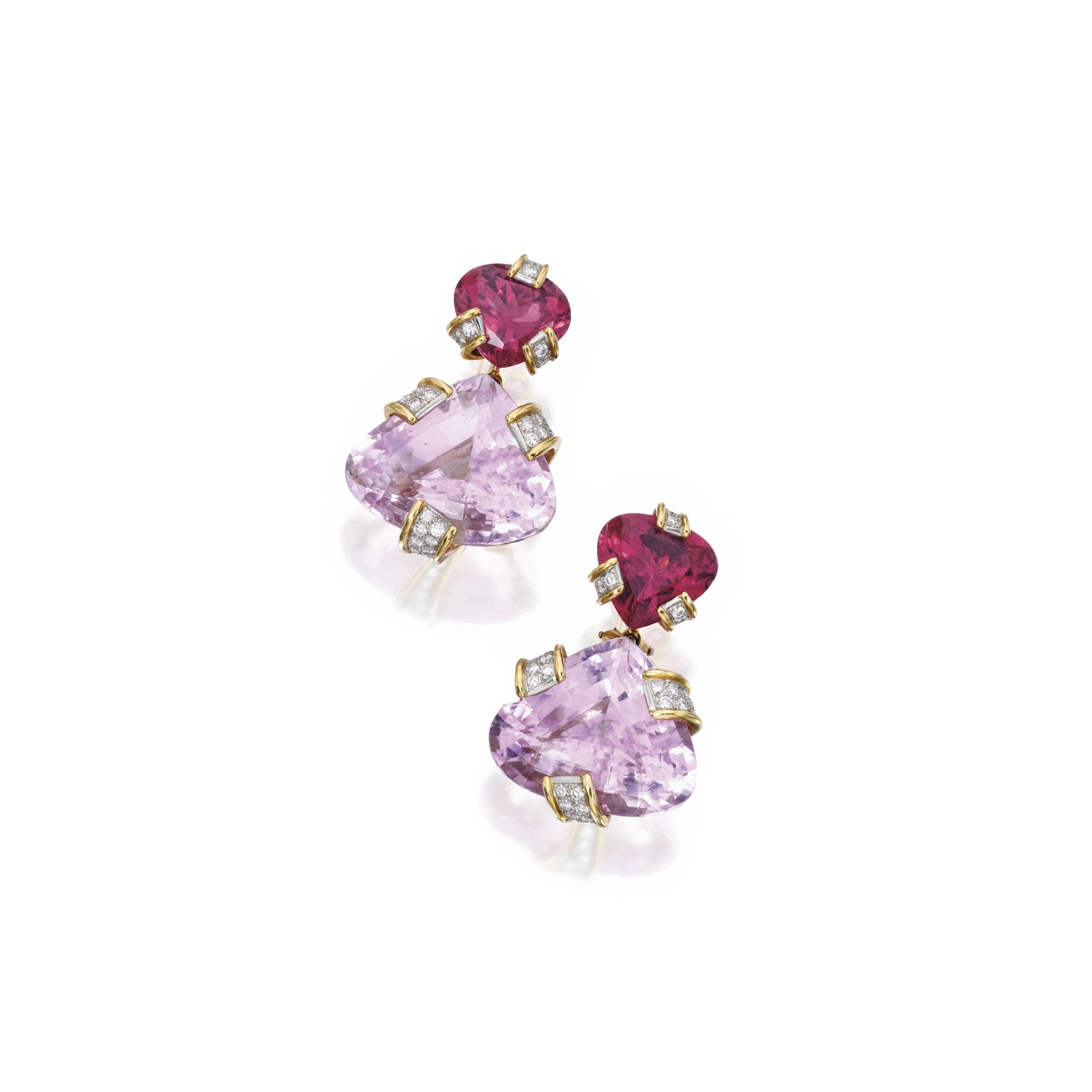 and around off diamonds kunzite highlighted amethyst pin earrings margherita by one burgener piece all