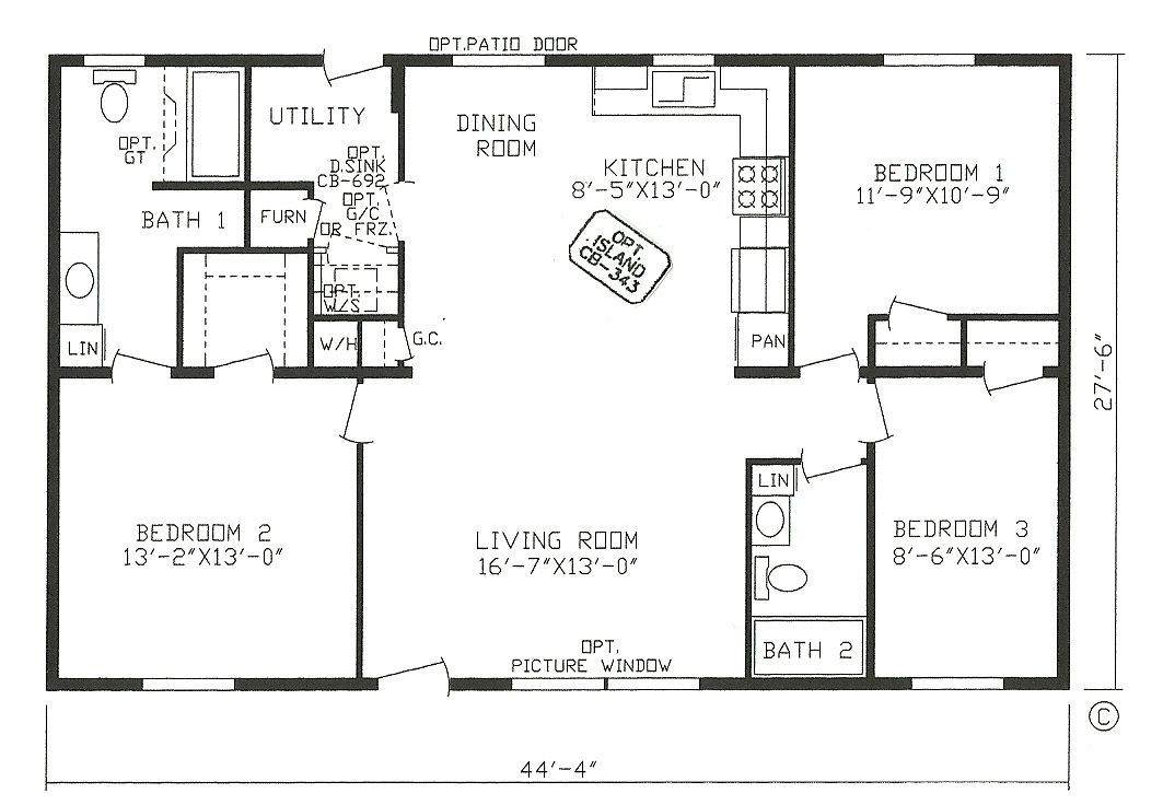 Small 3 4 Bathroom Floor Plans: 4 Corner Rectangle House Plan, 3 Bedrooms