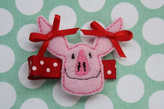 Your Favorite Pig Olivia Felt Hair Clip by SimplyGraceBows on Etsy, $3.50