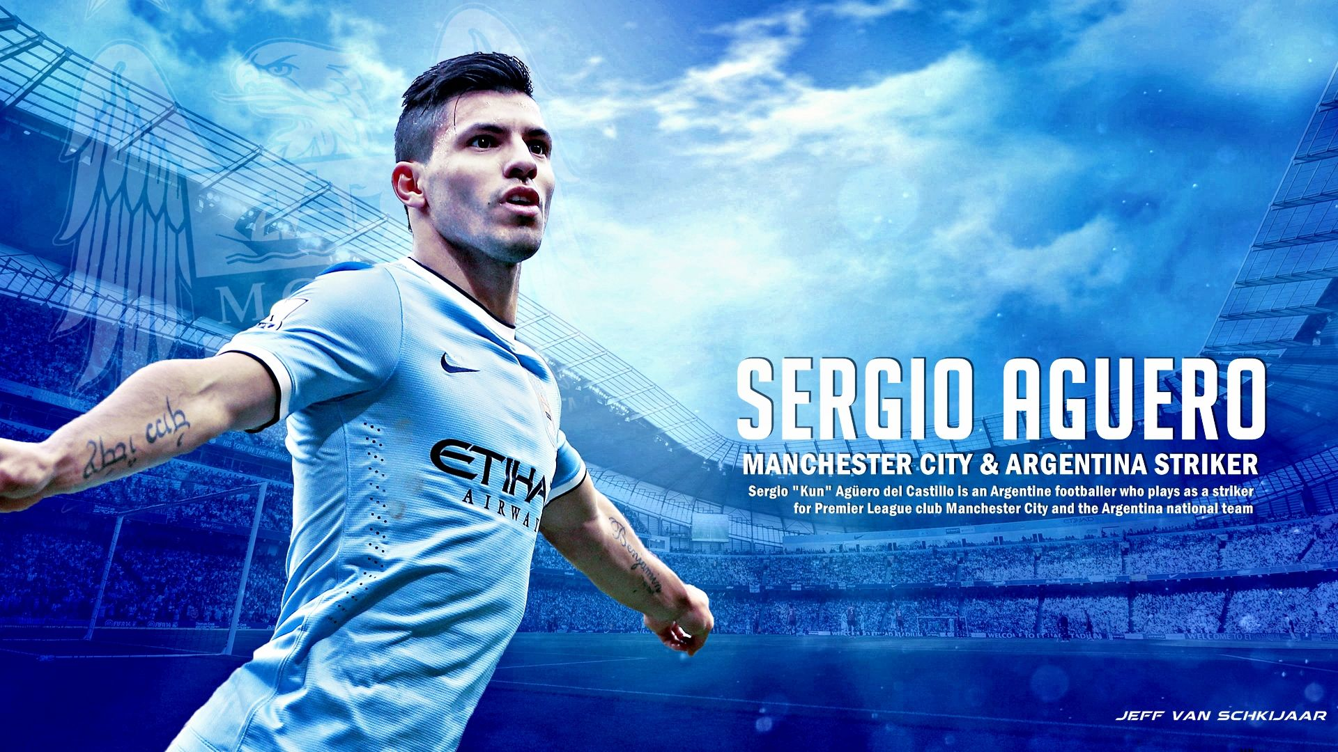 Sergio Aguero 1 Manchester City Argentina Football Quote Signed Quality Poster