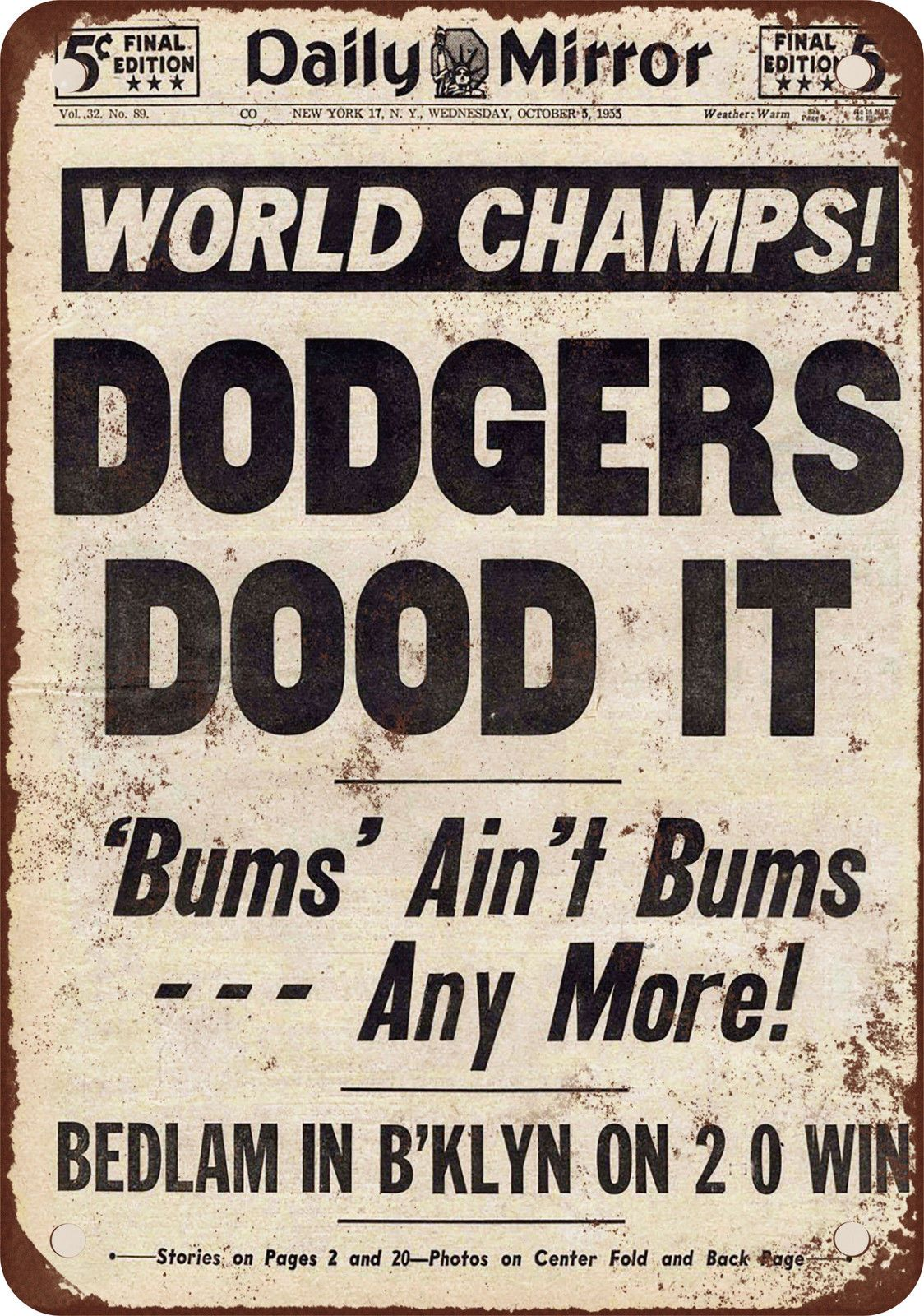 Find newspaper front page repros 1955 brooklyn dodgers win world find newspaper front page repros 1955 brooklyn dodgers win world series vintage look reproduction metal sign buycottarizona Image collections