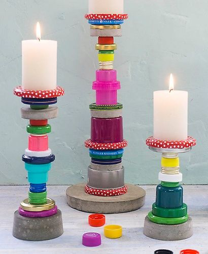 Kerzenstander Aus Flaschendeckeln Home And Garden Diy Pinterest