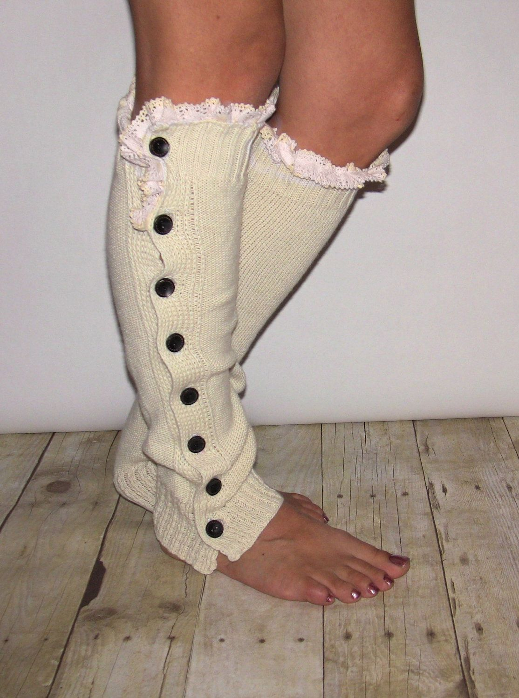 Button  Cream Legwarmer Boot Sock