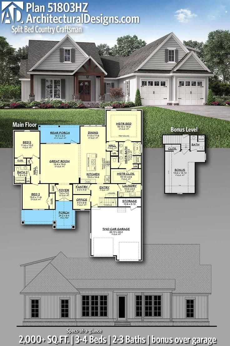 #51803HZ  #adhouseplans  #architecturaldesigns  #houseplans  #architecture  #newhome  #country  #craftsman  #newconstruction  #newhouse   #homeplans  #architecture  #home  #homesweethome   #Designs #Home Architectural Designs Home Plan 51803HZ gives you 2-3 bedrooms, 2-3 baths and 2,000+ sq. ft. with a bonus over the garage Ready when you are! Where do YOU want to build?