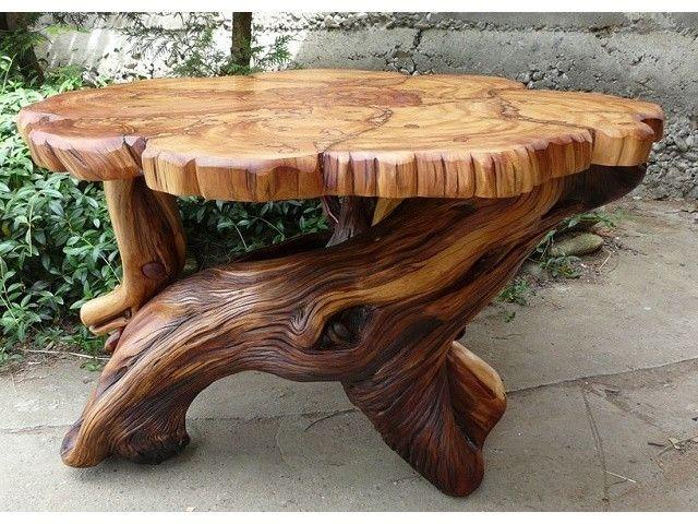 22 Meubles Originaux Avec Des Troncs Ou Des Souches D Arbres Table De Jardin Table En Bois Rustique Table Tronc D Arbre