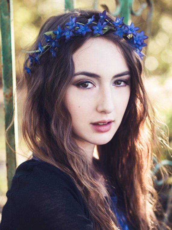 Wedding Flower Crown Wedding Fake Flower Crown Flower Girl Delicate Blue Flower Crown Hair Flowers