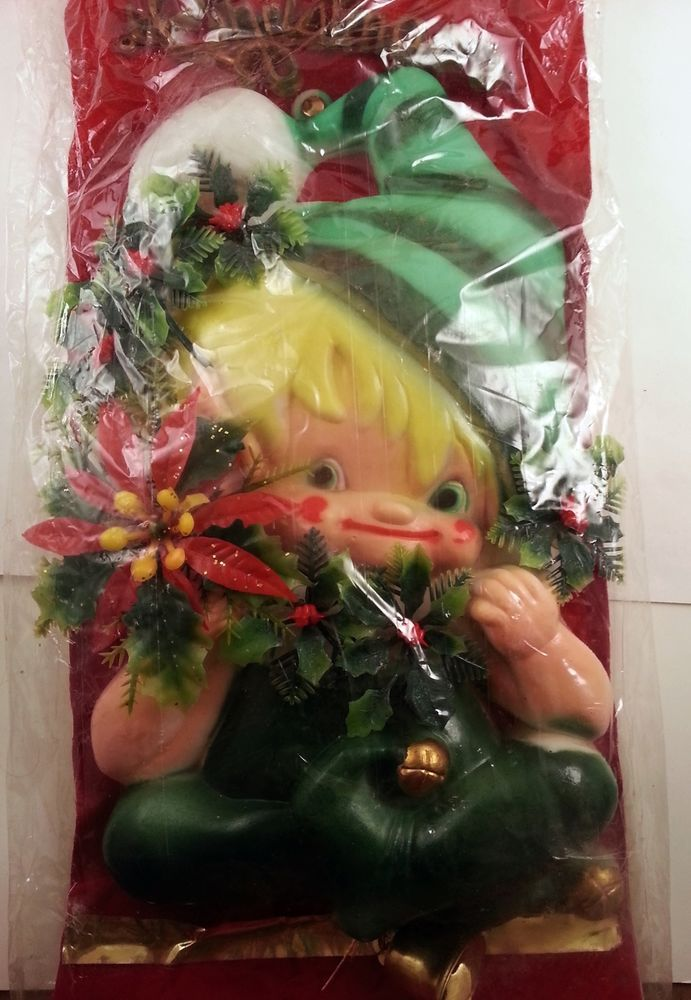 Vintage Elf Christmas Decoration Wall Hanging w/ Jingle Bells