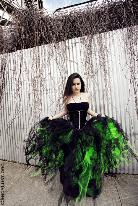 Details about Black Neon Green Prom Wedding Gown TuTu Skirt Formal ...