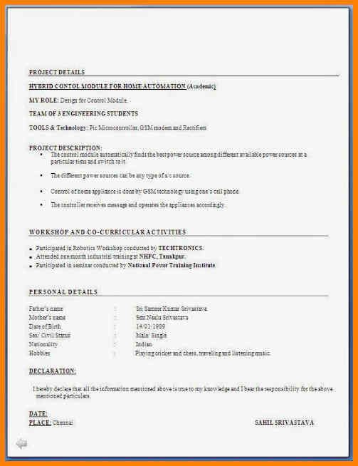 Objective For Resume For Freshers template Pinterest Template - declaration in resume