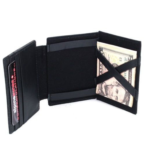 Alpine Swiss Mens Leather Magic Wallet ID Window 9 Card Slots 2 Sided Billfold