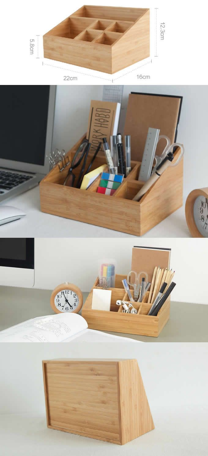 Bamboo Wooden Office Desk Organizer Storage Box Pencil Holder ...