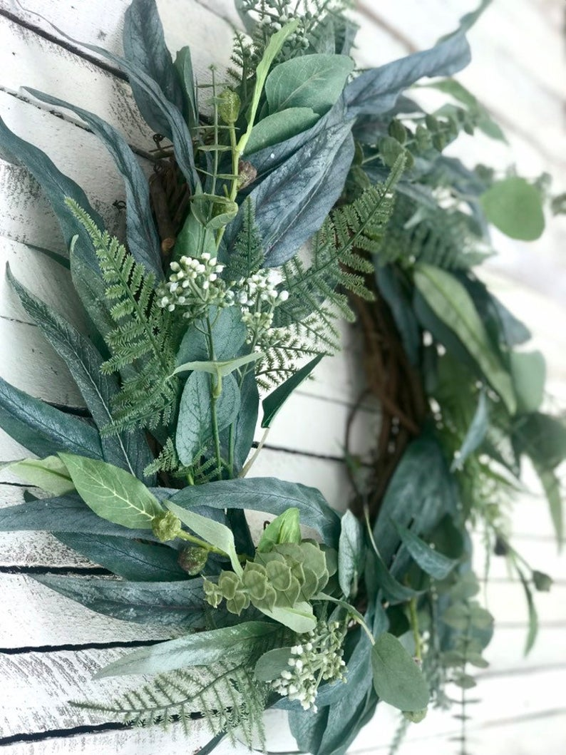 Photo of Year Round Eucalyptus Wreath, Spring Wreath for Front Door, Greenery Wreath with Mixed Eucalyptus and Ferns, Farmhouse Wreath, Summer