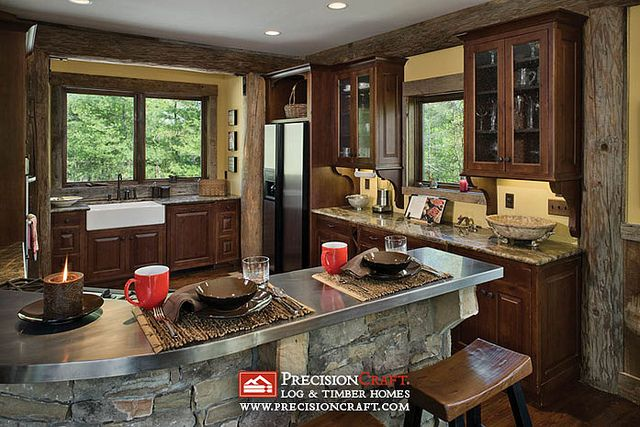 Log Home Post & Beam Kitchen   PrecisionCraft Log Homes by PrecisionCraft Log Homes & Timber Frame, via Flickr