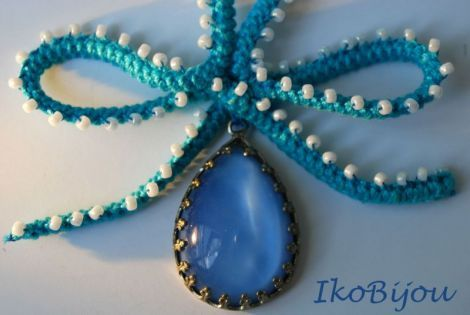 Romanian point lace cord, long neckless with a tear drop pendant. #DIY #romanianpointlace