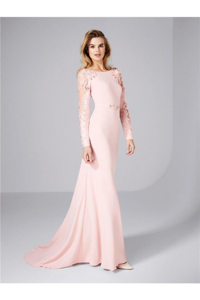Sheath Bateau Neckline Long Sleeve Blush Pink Satin Lace Evening ...