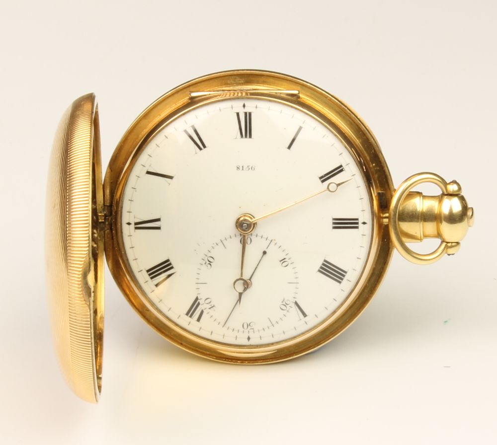 LOT 625, A James McCabe 18ct yellow gold hunter pocket watch, inscribed and numbered Jas McCabe, Royal Exchange, London 8156, date hallmark London 1816, SOLD £1500