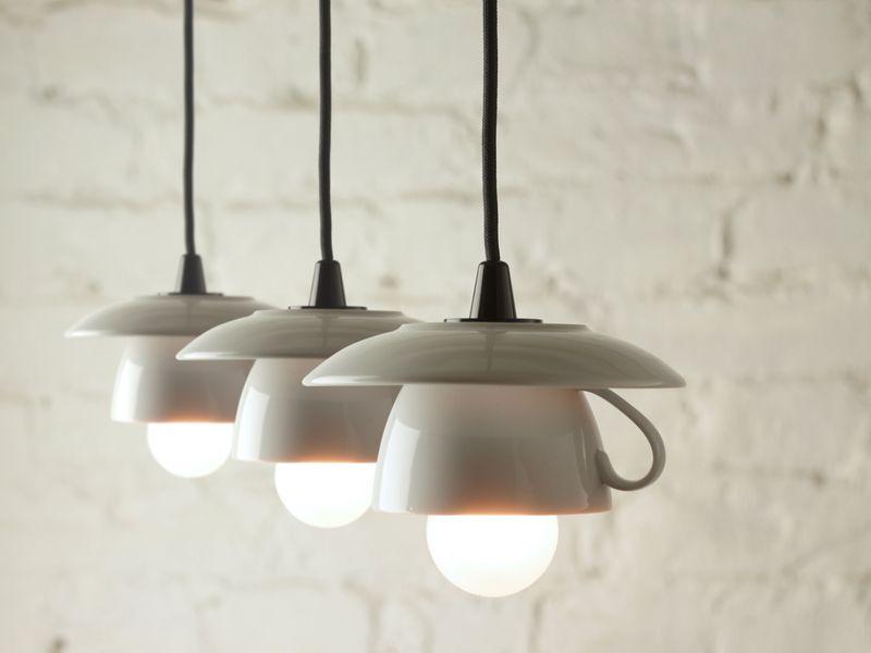3er Tassenlampe Mit Schwarzem Textilkabel Lampe Kronleuchter Selbst Bauen Beleuchtung Fur Zuhause