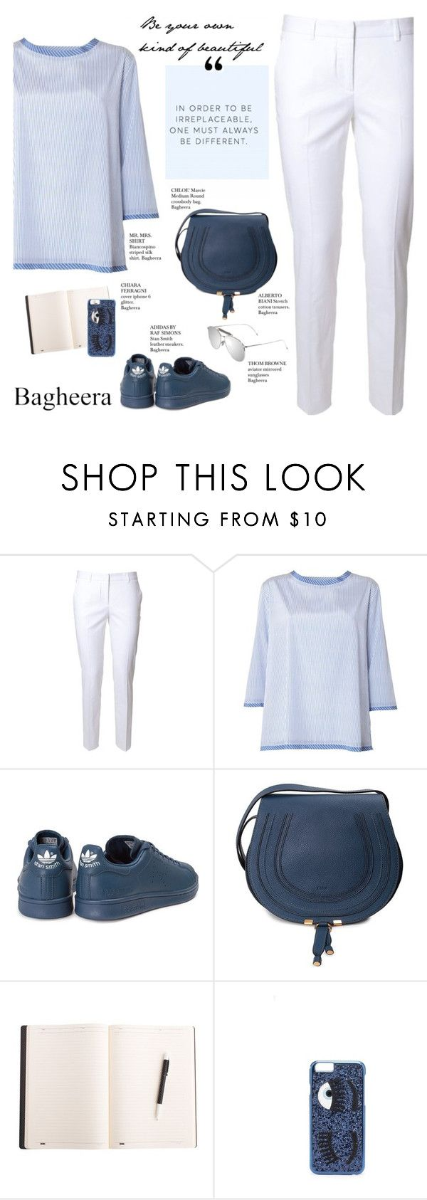 """#896 Bagheera"" by giulls1 ❤ liked on Polyvore featuring Alberto Biani, MR. MRS. SHIRT, adidas, Chloé, Chiara Ferragni, Thom Browne and bagheeraboutique"