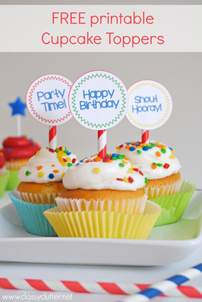 picture regarding Happy Birthday Cake Topper Printable identified as Cost-free printable Birthday Cupcake Toppers Ideal of Pinterest