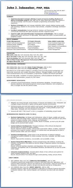 Sample IT Project Manager Resume (Experienced) Professional - sample resume experienced