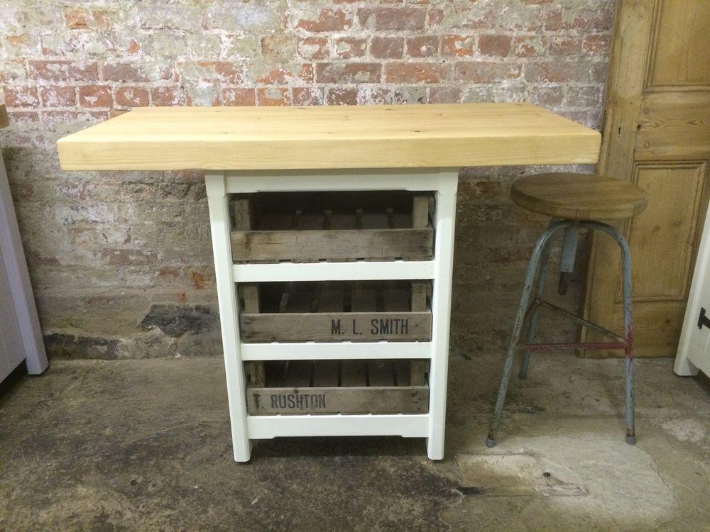 Sale Wooden Solid Pine Freestanding Kitchen Island
