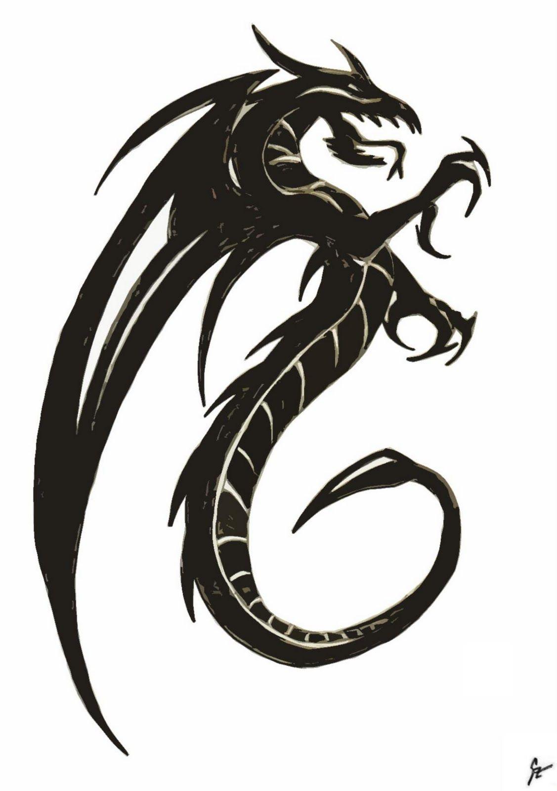 507489ea76efa dragon black and white - Google Search | tattoo ideas | Easy dragon ...