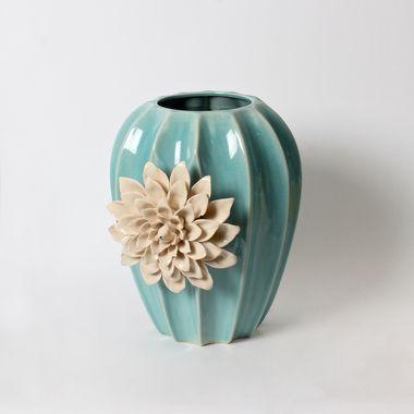 Blue Ceramic Vase With Flower I