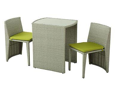 Set di 1 tavolo e 2 sedie in acciaio e rattan Guttuso grigio