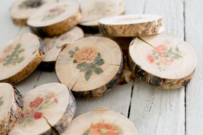 Botanical Wood Slices Tutorial Wax Paper Transfers Wood Slices