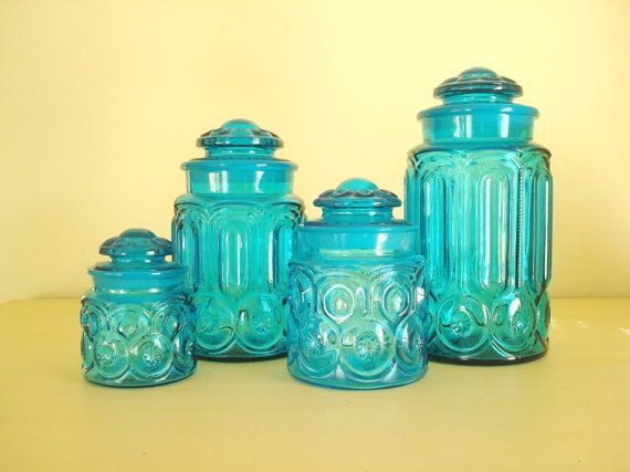 Moon U0026 Star Colonial Blue Canister Set, LE Smith Turquoise Glass 1950 60  Cerulean, Set 4, Food Storage, Wedding Gift, Home Decor, Kitchen