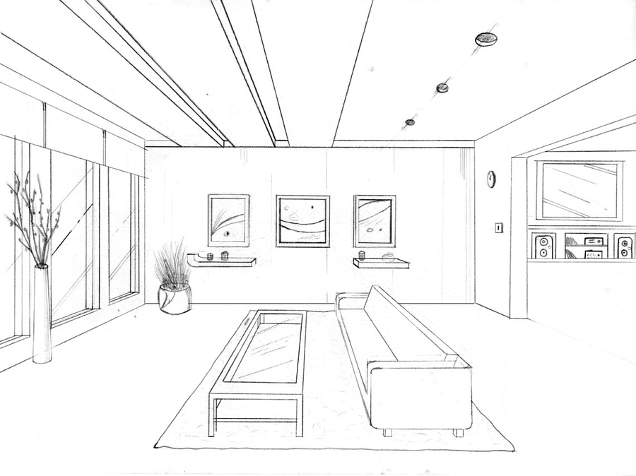 1 Point Perspective Drawing By Groovdafied Drawing