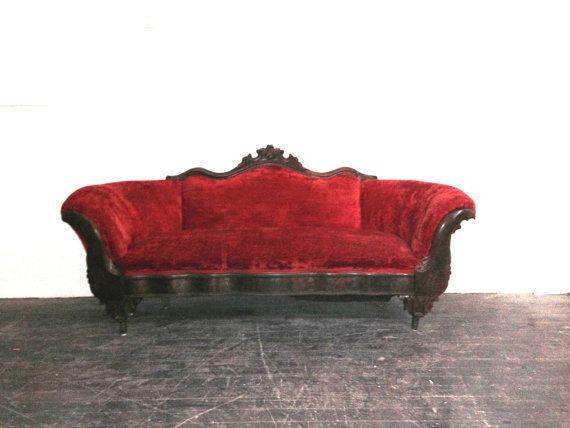 Red Velvet Couch Velvet Couch Vintage Sofa Pink Velvet Couch