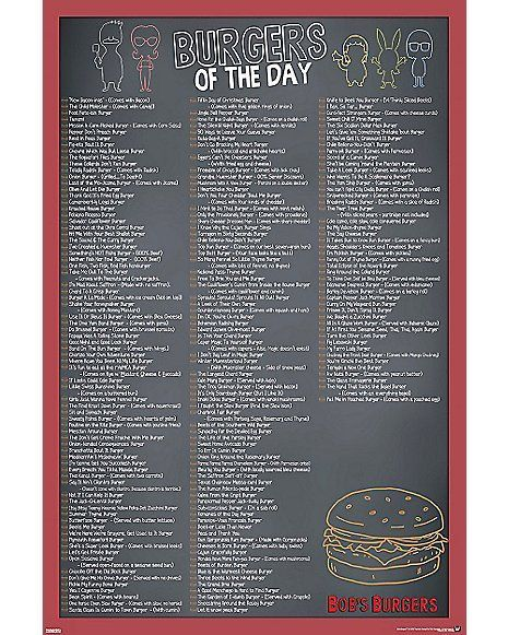 Bob S Burgers Burger Of The Day Poster Spencer S Bobs Burgers