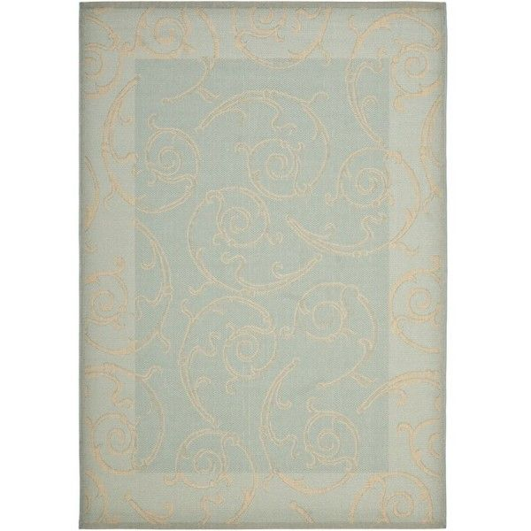 Safavieh Poolside Aqua/Cream Indoor/Outdoor Border Rug ($50) ❤ liked on Polyvore featuring home, rugs, blue, indoor outdoor rugs, outdoor rugs, polypropylene outdoor rugs, blue outdoor rug and blue indoor outdoor rug