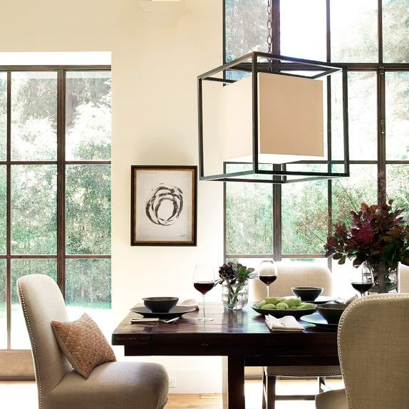 Room · square framed lantern oiled bronze williams sonoma dining room lightinghome