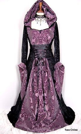Purple and black wedding dresses for December elopement