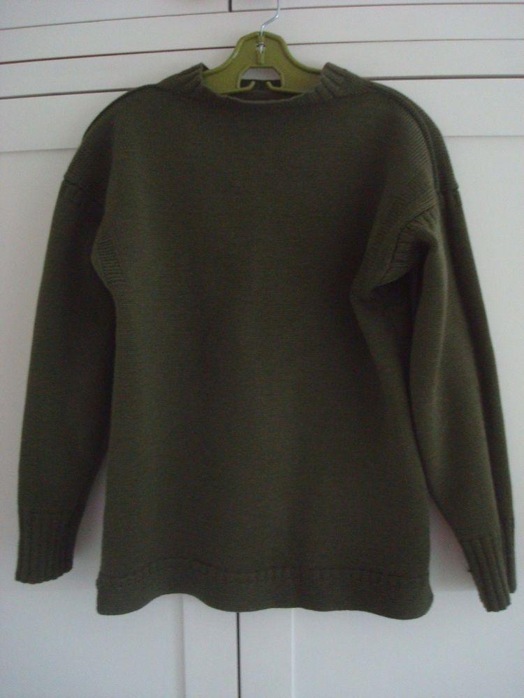 Le Tricoteur Unisex Green Wool Fisherman S Guernsey Jumper