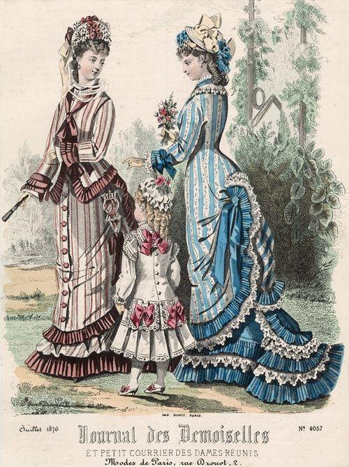 July fashions, 1876 France, Journal des Demoiselles et Petit Courrier des Dames Réunis