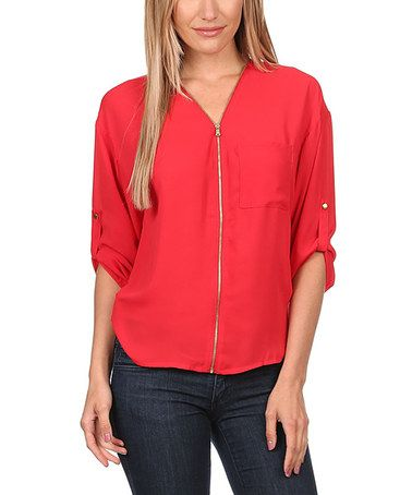 Another great find on #zulily! Red Zip-Up Pocket Top #zulilyfinds