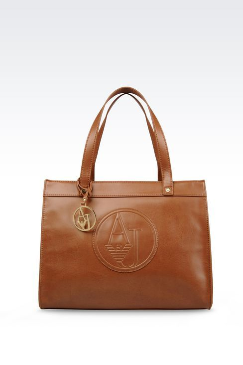 Armani Jeans Women SHOPPING BAG IN FAUX LEATHER WITH CHARM, - Armani.com