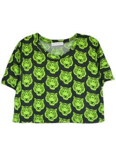Shop Repeat Green Tiger Print Crop Top in Black from choies.com .Free shipping Worldwide.$15.99