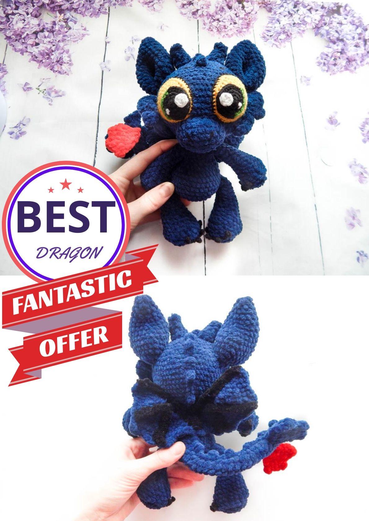 Custom blue dragon stuffed toy, night fury dragon, ooak dragon