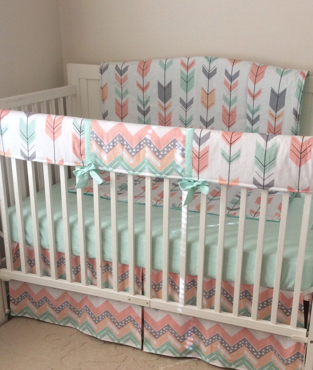 Coral Peach Pint And Gray Arrows Crib Bedding A Personal Favorite From My Etsy Shop Https Www Etsy Com Listing 265 With Images Baby Girl Room Crib Bedding Girl Baby Bed
